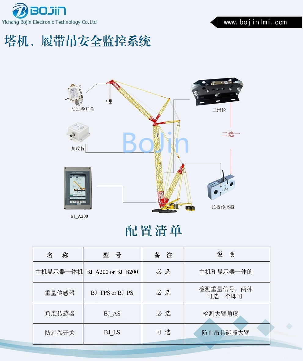 Tower crane/crawler crane safety monitor system